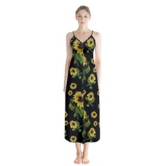 Sunflowers Pattern Button Up Chiffon Maxi Dress