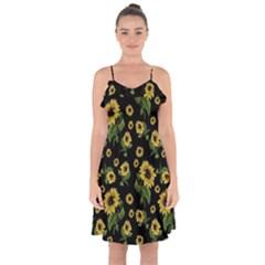 Sunflowers Pattern Ruffle Detail Chiffon Dress