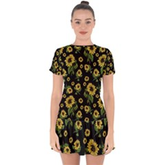 Sunflowers Pattern Drop Hem Mini Chiffon Dress