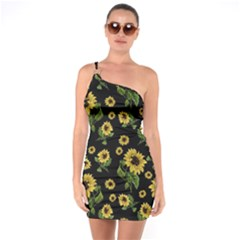 Sunflowers Pattern One Soulder Bodycon Dress
