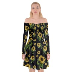 Sunflowers Pattern Off Shoulder Skater Dress