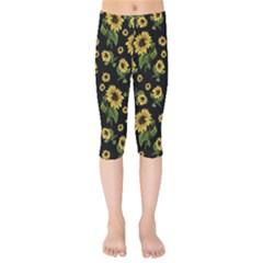 Sunflowers Pattern Kids  Capri Leggings