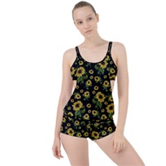 Sunflowers Pattern Boyleg Tankini Set