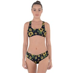 Sunflowers Pattern Criss Cross Bikini Set
