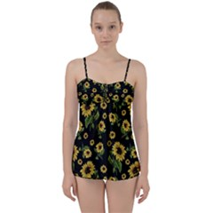 Sunflowers Pattern Babydoll Tankini Set