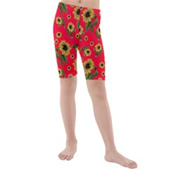 Sunflowers Pattern Kids  Mid Length Swim Shorts