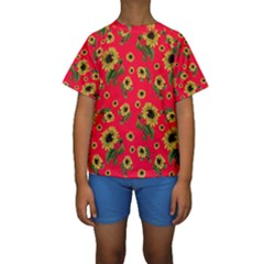 Sunflowers Pattern Kids  Short Sleeve Swimwear
