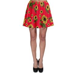 Sunflowers Pattern Skater Skirt