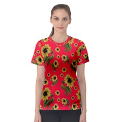 Sunflowers Pattern Women s Sport Mesh Tee