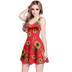Sunflowers Pattern Reversible Sleeveless Dress