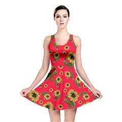 Sunflowers Pattern Reversible Skater Dress