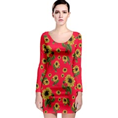 Sunflowers Pattern Long Sleeve Bodycon Dress