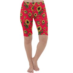 Sunflowers Pattern Cropped Leggings