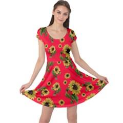 Sunflowers Pattern Cap Sleeve Dress