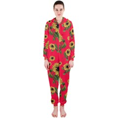 Sunflowers Pattern Hooded Jumpsuit (ladies)