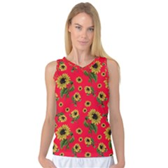 Sunflowers Pattern Women s Basketball Tank Top