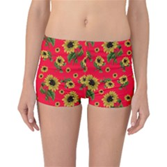 Sunflowers Pattern Boyleg Bikini Bottoms