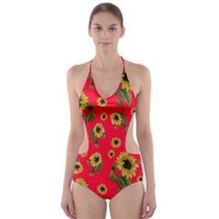 Sunflowers Pattern Cut Out One Piece Swimsuit