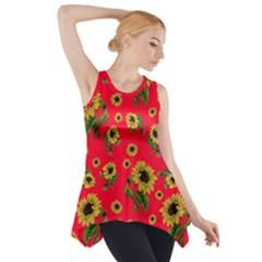 Sunflowers Pattern Side Drop Tank Tunic