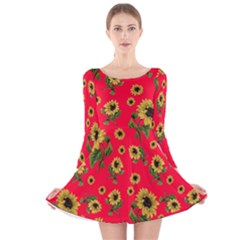 Sunflowers Pattern Long Sleeve Velvet Skater Dress
