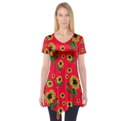 Sunflowers Pattern Short Sleeve Tunic