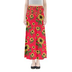 Sunflowers Pattern Full Length Maxi Skirt