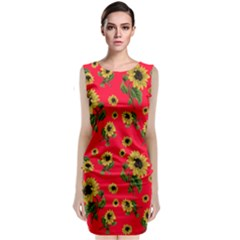 Sunflowers Pattern Classic Sleeveless Midi Dress