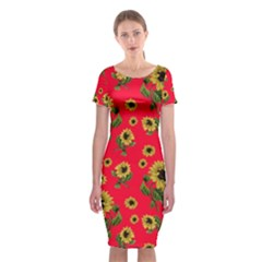 Sunflowers Pattern Classic Short Sleeve Midi Dress