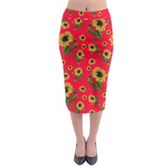 Sunflowers Pattern Midi Pencil Skirt