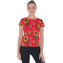 Sunflowers Pattern Short Sleeve Sports Top
