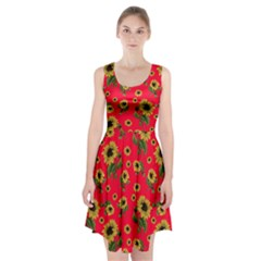 Sunflowers Pattern Racerback Midi Dress