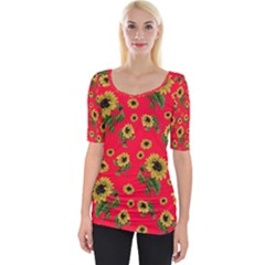 Sunflowers Pattern Wide Neckline Tee