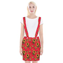 Sunflowers Pattern Braces Suspender Skirt