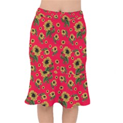 Sunflowers Pattern Mermaid Skirt
