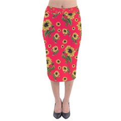 Sunflowers Pattern Velvet Midi Pencil Skirt