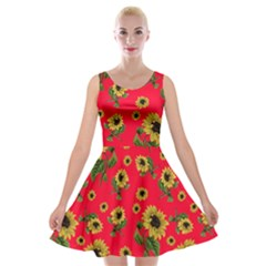 Sunflowers Pattern Velvet Skater Dress