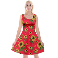 Sunflowers Pattern Reversible Velvet Sleeveless Dress