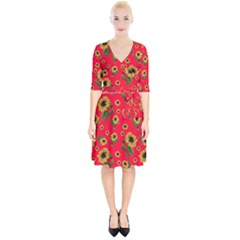 Sunflowers Pattern Wrap Up Cocktail Dress