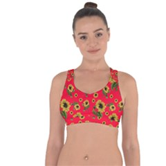 Sunflowers Pattern Cross String Back Sports Bra