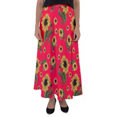 Sunflowers Pattern Flared Maxi Skirt