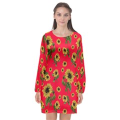 Sunflowers Pattern Long Sleeve Chiffon Shift Dress