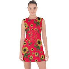 Sunflowers Pattern Lace Up Front Bodycon Dress