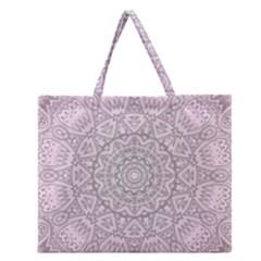 Pink Mandala Art  Zipper Large Tote Bag