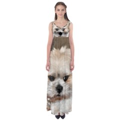 Lhasa Apso Groomed Empire Waist Maxi Dress