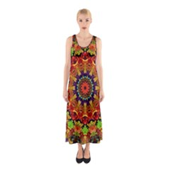 Fractal Mandala Abstract Pattern Sleeveless Maxi Dress