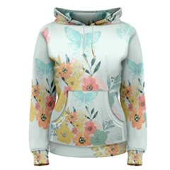 Watercolor Floral Blue Cute Butterfly Illustration Women s Pullover Hoodie