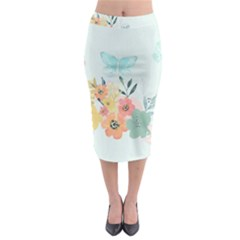 Watercolor Floral Blue Cute Butterfly Illustration Midi Pencil Skirt