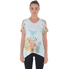 Watercolor Floral Blue Cute Butterfly Illustration Cut Out Side Drop Tee