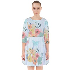 Watercolor Floral Blue Cute Butterfly Illustration Smock Dress