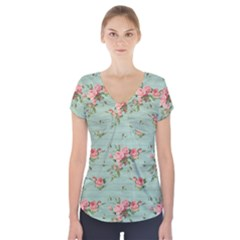 Vintage Blue Wallpaper Floral Pattern Short Sleeve Front Detail Top